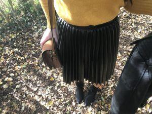 Elva Metallic Pleated Midi Skirt