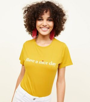 Mustard Have A Nice Day Slogan T-Shirt