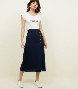 Navy Linen-Look Button Front Midi Skirt