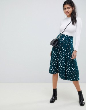 ASOS DESIGN midi skirt with box pleat in polka dot print