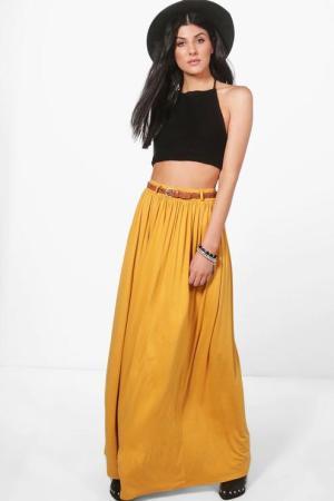 Kinsley Belted Floor Sweeping Maxi Skirt