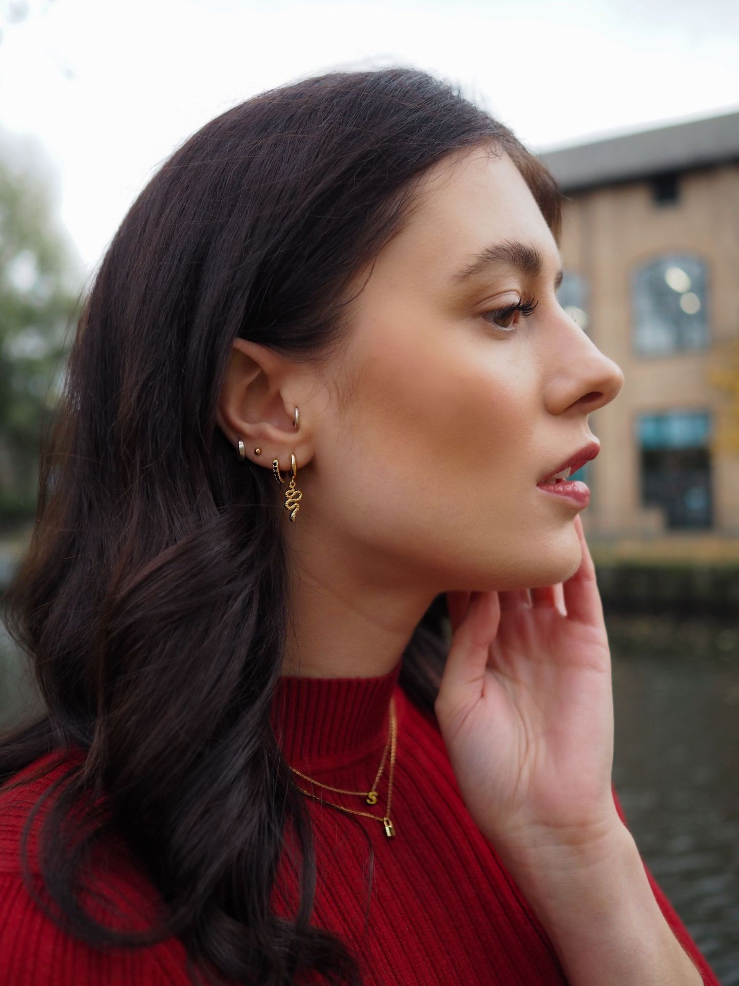 Oreilia London - Gold Plated Initial Necklace £15 - Gold Mini Metal Padlock Necklace £15 - Gold Snake Ear Party £30