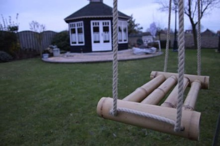 9. The resilience and FLEXIBILITY of bamboo pays off when creating a garden swing