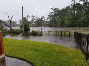 Hurricane Irma image from Charleston SC. Water rising over a fence