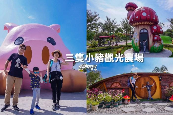 三隻小豬觀光農場   嘉義新景點 巨大粉紅豬、蘑菇屋、哈比屋 近距離觀察小動物