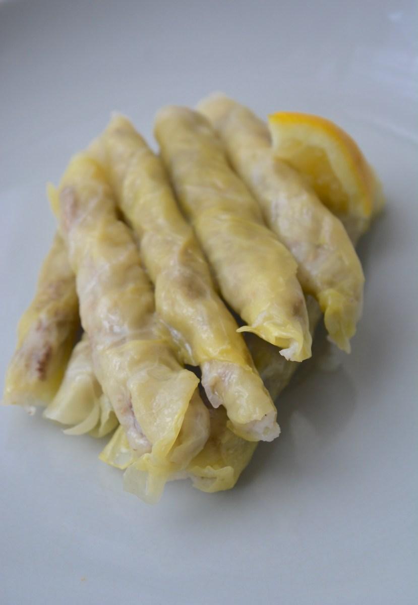Malfouf (mahsi) Gevulde koolbladeren met rijst, gehakt en citroen