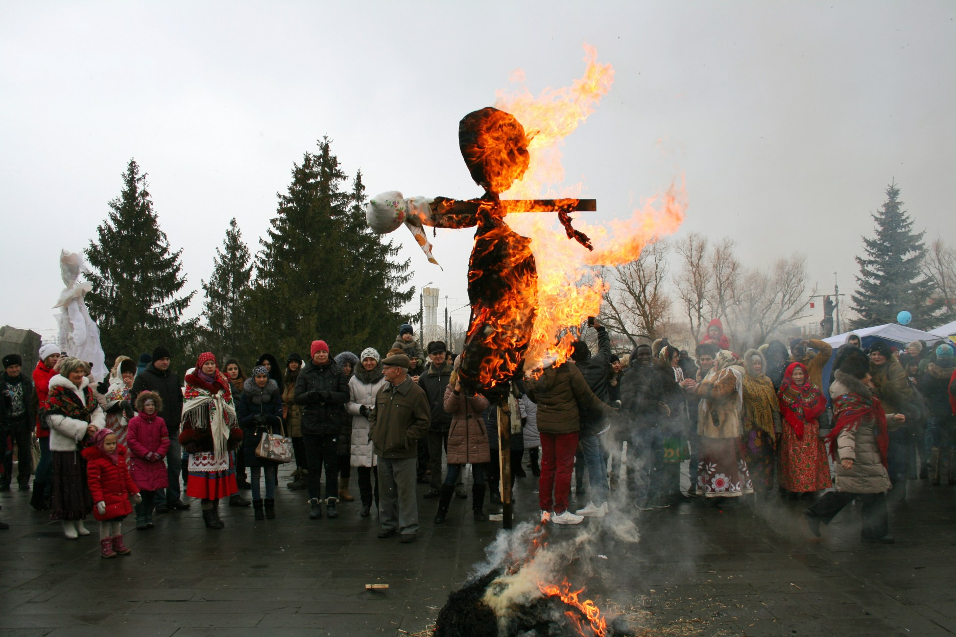 Maslenitsa doll burning