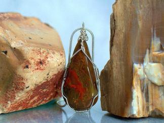 Lavic jasper, red pattern stone, teardrop pendant