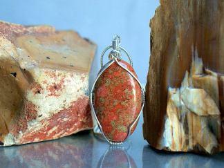 Large Jasper pendant, orange stone jewelry