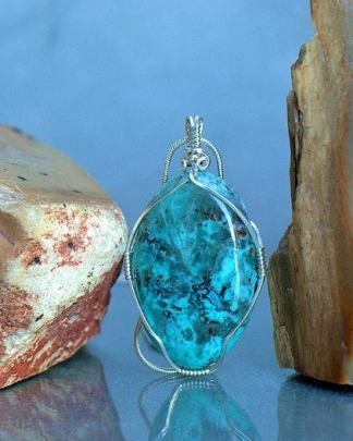Light blue mineral, Chrysocolla pendant