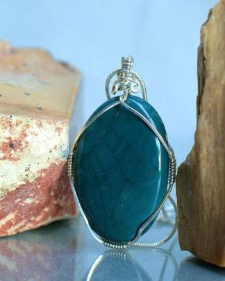 Green polished stone, Jasper pendant necklace