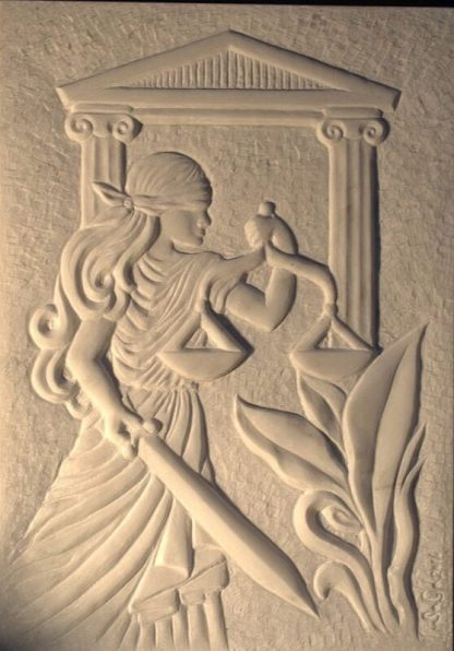 Chiseled art relief, marble wall panel