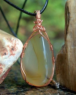 Copper wire wrapped, Montana agate gemstone pendant