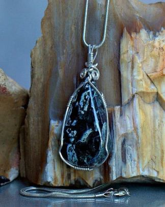 Black Jasper stone, Dallasite pendant necklace