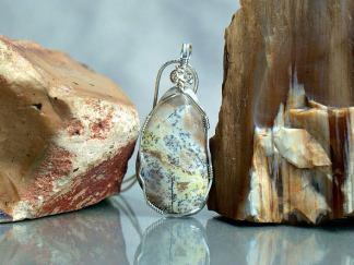 Hand cut mineral, Lizard stone pendant