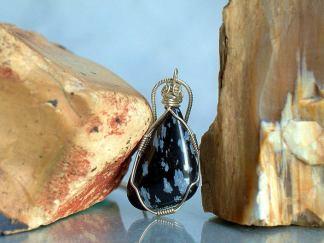 Snow flake Obsidian, silver set stone pendant