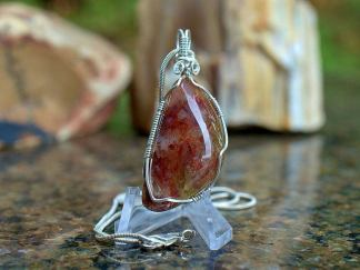 Red color gemstone, Moss Agate pendant necklace