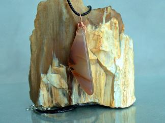 Gemstone specimen necklace, large agate pendant