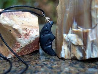 Stone moon pendant, carved Argillite necklace