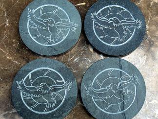 Black Slate coasters, carved stone hawks