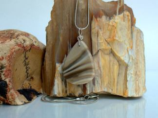 Stone of optimism, striped Flint charm, talisman necklace
