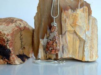 Crazy lace Agate, free form shape pendant necklace