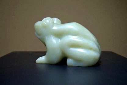 Green frog sculpture, heavy soapstone figurine
