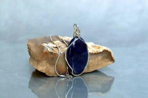 oval shape blue quartz gemstone pendant necklace