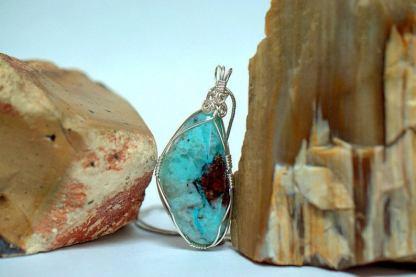 Blue green Chrysocolla, Arizona mineral necklace