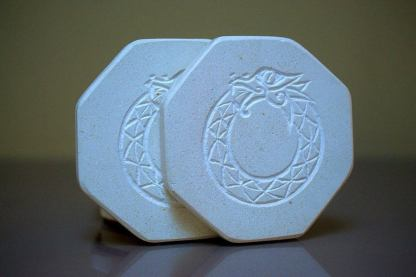 Hand carved symbol, octagon, limestone coasters