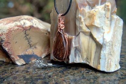 Brown gemstone, Jasper pendant copper necklace
