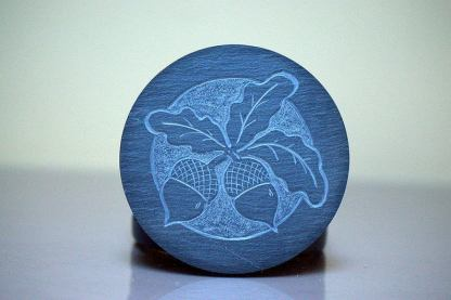 Hand carved,Acorn design Slate stone coasters