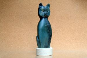 green stone abstract cat figurine