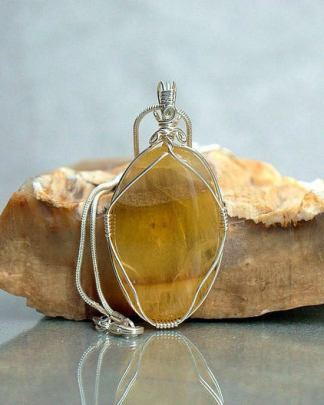 Yellow fluorite crystal necklace