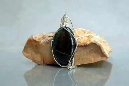 blue stone with silver