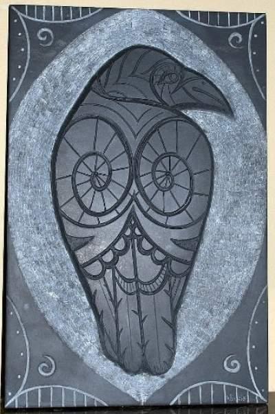 Hand chiseled Raven