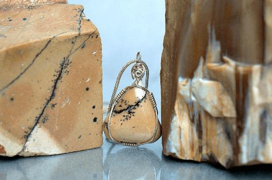 beige Jasper triangle pendant