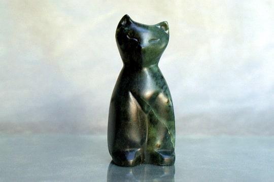 soapstone sitting cat figurine