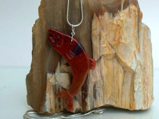 Red gemstone carved salmon fish pendant
