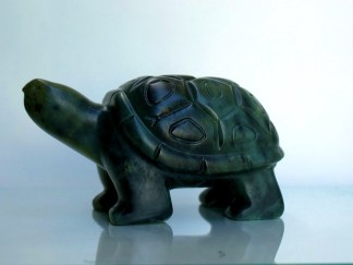 green soapstone tortoise hand carved figurine