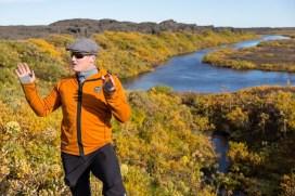 A guide telling stories in Herðubreiðarlindir