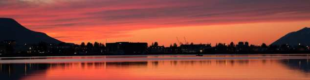Akureyri during a Midnight Sunset
