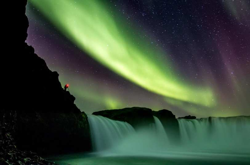 Goðafoss Waterfall under the Northern Ligths