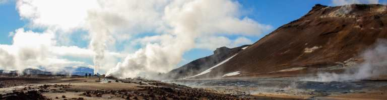 The heat is up at Hverir by Lake Mývatn. Hot springs, bubbling mud pools and steam.