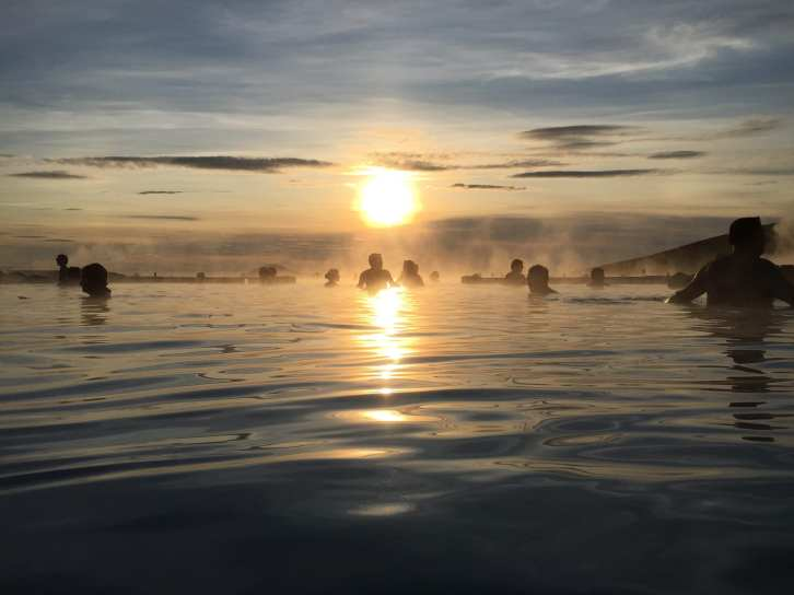 Sunset over Mývatn Nature Baths