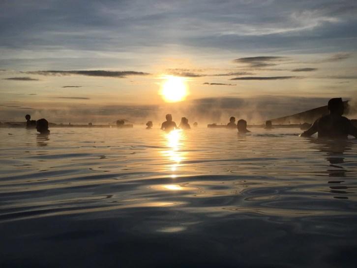 Sunset over Mývatn Nature Baths