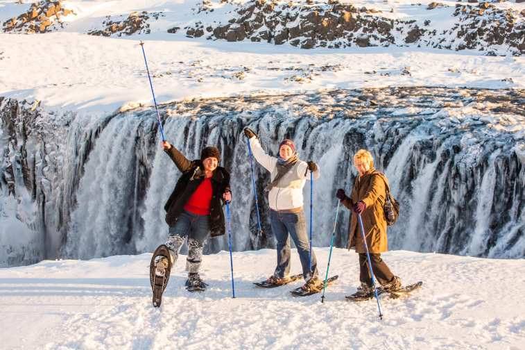 Dettifoss Waterfall Winter snowshoeing