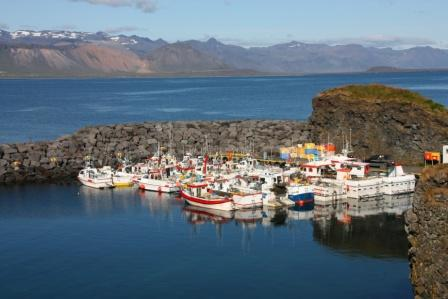 Fishing ships in Arnarstapi harbor, Snaefellsnes peninsula, Iceland