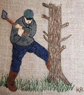 KOLARMON Tjärdalar och kolmilor var vanliga i skogsbygderna i äldre tid. Under de två världskrigen blev träkolet en viktig ersättning för stenkol och olja i fabrikerna och för uppvärmningen i städerna. Stora kvantiteter träkol fraktades på järnväg ner till Syd- och Mellansverige. Kolveden höggs och staplades i res på sommaren och hösten, mellan vårens flottningsarbete och vinterns avverkningar. Under vintern kolades och revs milorna. Det var ett ytterst grannlaga arbete att sköta milan så att den inte brann ner utan att ge kol. En van kolare kunde under ett lyckosamt år tjäna mycket pengar. Men arbetet var pressande med mycket nattvak och riskabelt arbete uppe på milans tak. Längs Sagavägen fanns många kolmilor, bl a vid Kolarmon mellan Västersel och Pengsjö.