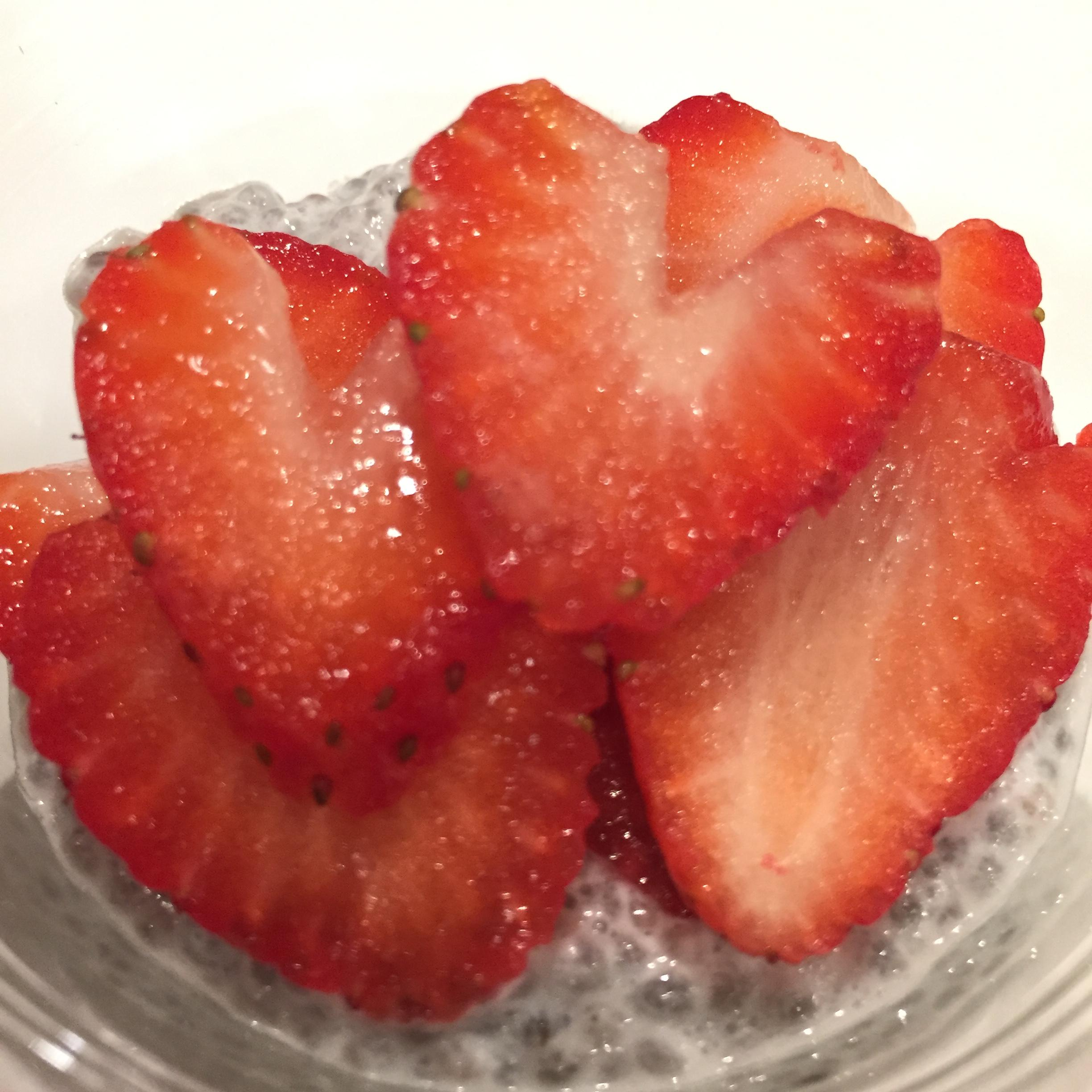 Chia Pudding with Sliced Strawberries